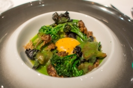 Broccoli Egg Yolk, Braised Yuba, Wild Mushrooms, Vadouvan
