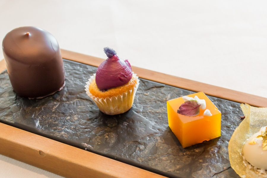 Chocolate-Dipped Marshmellow; Blackberry Cupcake; Apricot Jelly