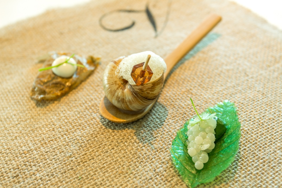 Edible Snail [sherry bouillon; potato skin]