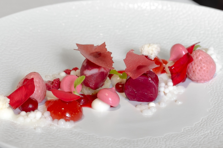"""A Plate of Red Berries"" in texture / Yogurt / Lime"
